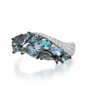 inel piatra albastra din argint