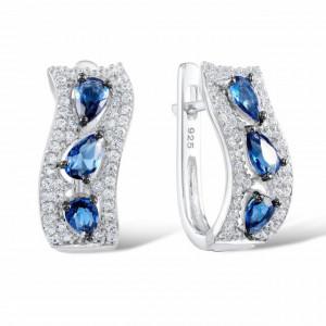 Cercei din argint albastri Rafaela