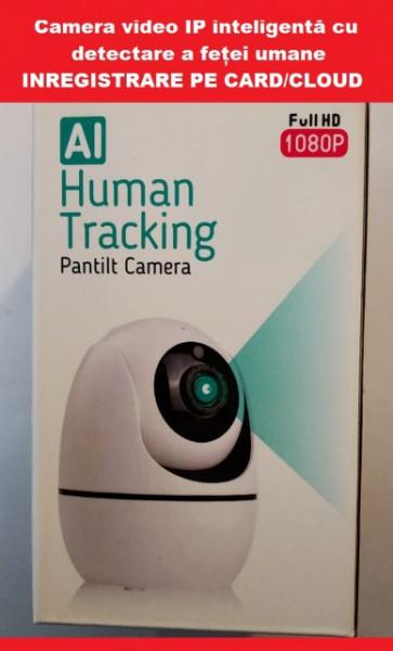 Poze Camera video inteligentă de securitate cu detectare a feței + urmărire automată și unghi de vizionare 360 °, inregistrare pe card/cloud