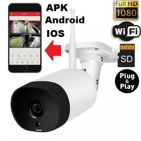 Poze Camera Video de EXTERIOR Fuld HD Wi-Fi IP cu inregistrare pe card/cloud