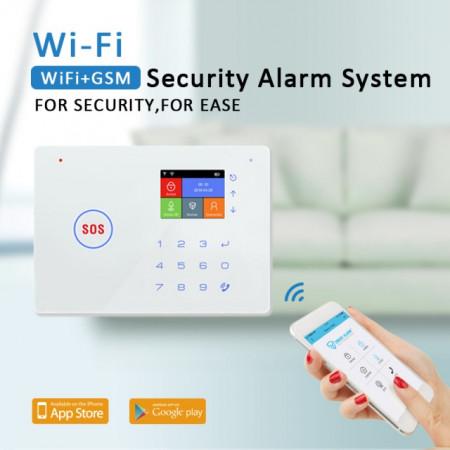 Poze Model nou Alarma WIFI GSM G66W cu centrala telefonica si Aplicatie Google Play/App Store /