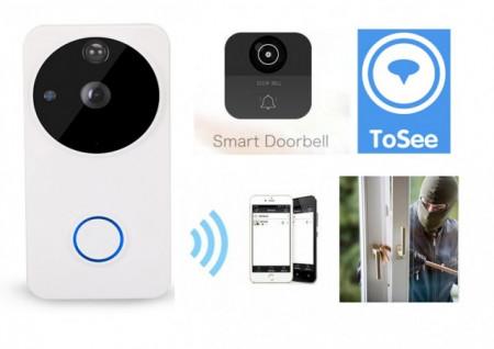 Poze Sonerie fara fir cu video camera Full HD, Baterie Incorporata, Wireless IP, APK Android si IOS 1080P/2.0M