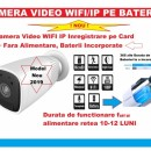NOU !!! Camera Video de Supraveghere WIFI Web IP (Internet LIVE) cu BATERII incorporate de 12000mAH inregistrare pe card/cloud, functionare 12 luni fara alimentare retea pentru Exterior/Interior