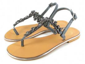 Sandale din piele cu accesorii pietre Lorraine gris