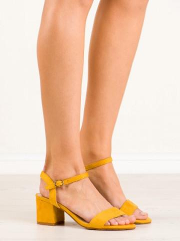 Sandale cu toc cod KJ-13 Yellow