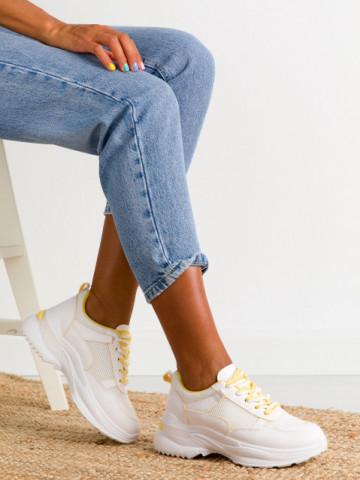 Pantofi sport cod BO563 White/Yellow
