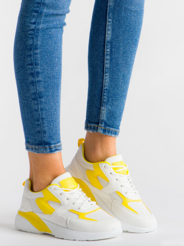 Pantofi sport cod GB77 White/Yellow