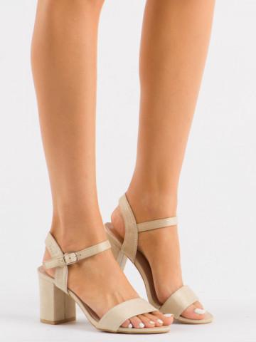 Sandale cu toc cod 3032 Beige