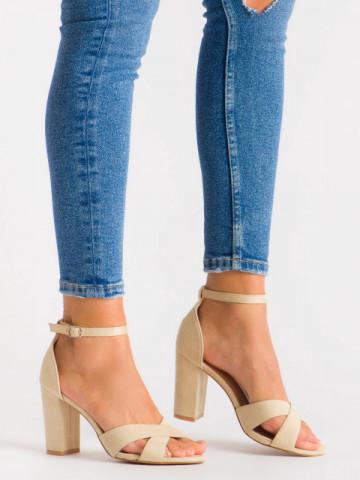 Sandale cu toc cod 3R49-13 Beige