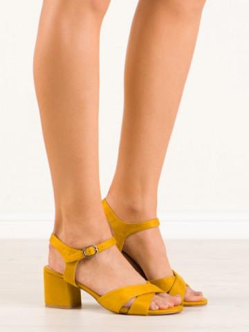 Sandale cu toc cod 660-2 Yellow