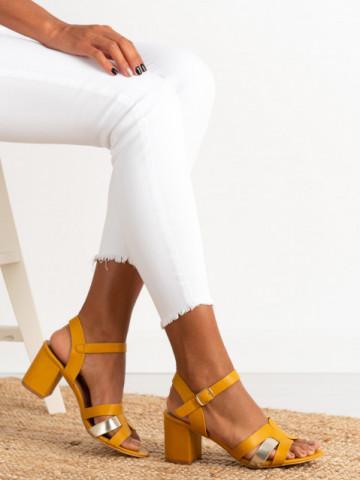 Sandale cu toc cod CS78 Yellow