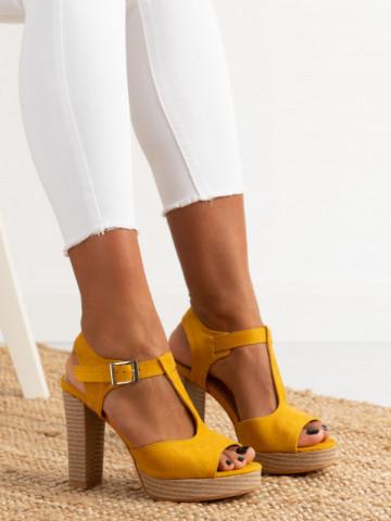 Sandale cu toc cod J165 Yellow