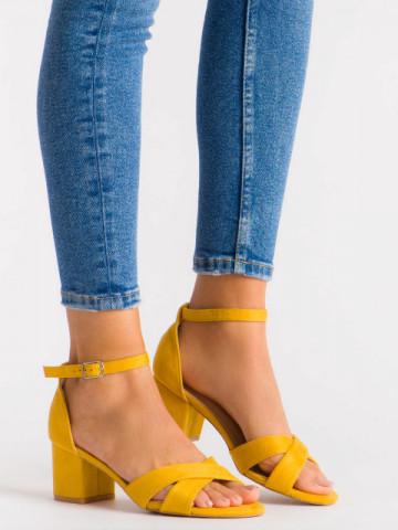 Sandale cu toc cod JX-58 Yellow