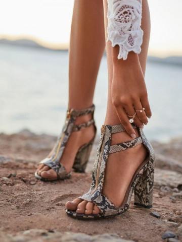 Sandale cu toc cod LE070 Snake