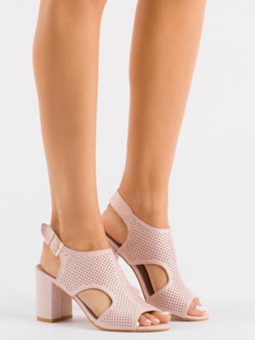 Sandale cu toc cod LL78 Beige