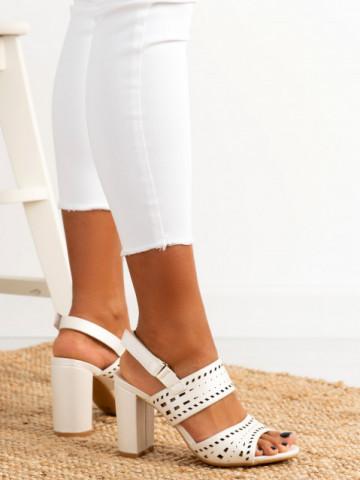 Sandale cu toc cod QL123 White