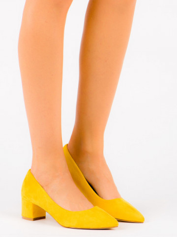 Pantofi cu toc cod OD0116 Yellow