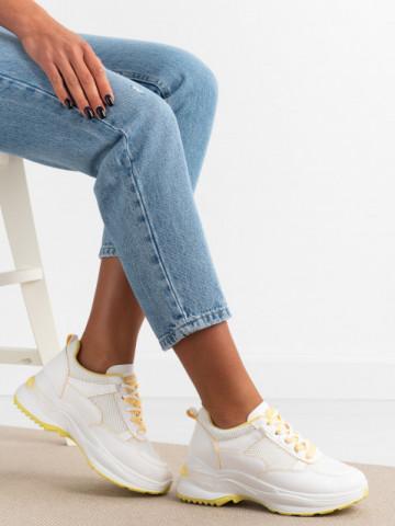 Pantofi sport cod 23-53 White/Yellow