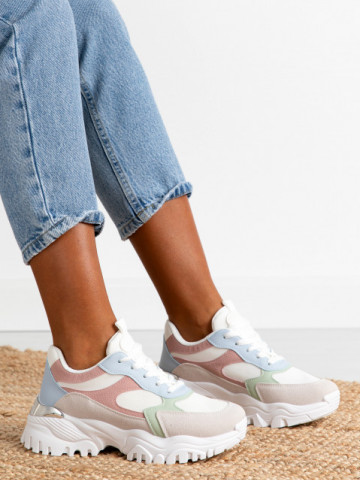 Pantofi sport cod AB827 White/Pink/Beige