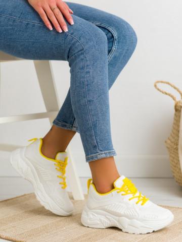 Pantofi sport cod BM589 White/Yellow