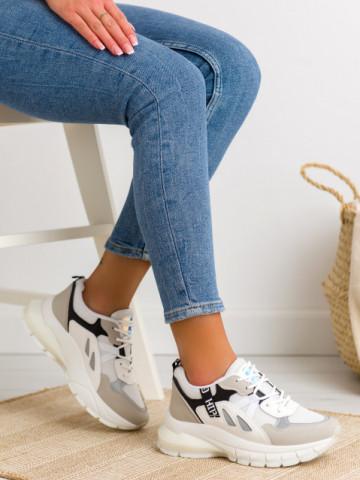 Pantofi sport cod BO553 White/Black
