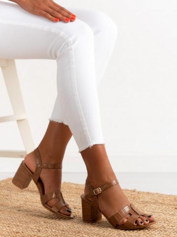 Sandale cu toc cod 11-06 Camel