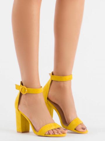 Sandale cu toc cod 222 Yellow