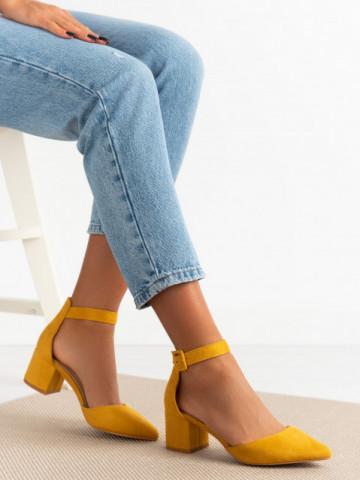 Sandale cu toc cod 77-179 Yellow