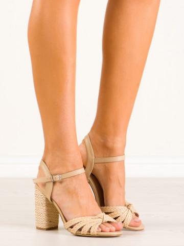 Sandale cu toc cod 9257-14 Beige