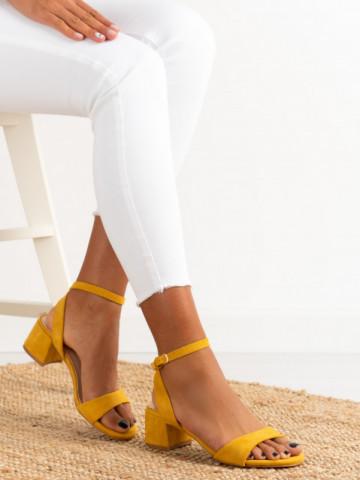 Sandale cu toc cod F9023 Yellow