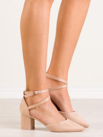 Sandale cu toc cod LE063 Beige