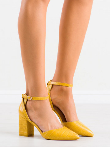 Sandale cu toc cod LE079 Yellow
