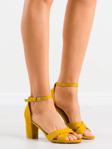 Sandale cu toc cod LL209 Yellow