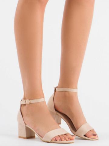 Sandale cu toc cod LL68 Beige