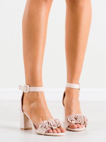 Sandale cu toc cod SL1001 Beige