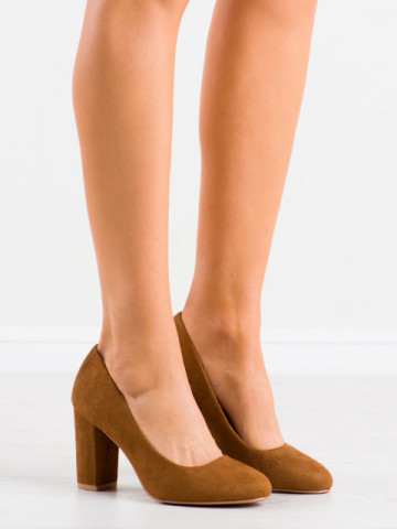 Pantofi cu toc cod E08-10 Camel