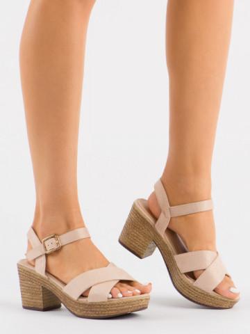 Sandale cu toc cod 1685-9Y Beige