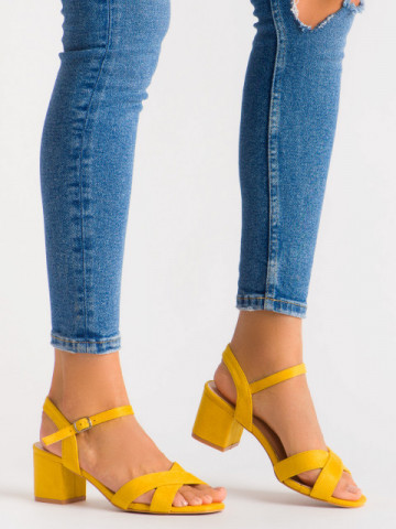 Sandale cu toc cod 3R47-16 Yellow