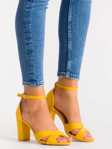 Sandale cu toc cod 3R49-16 Yellow
