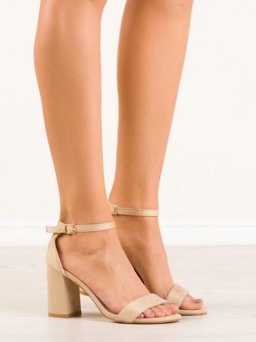 Sandale cu toc cod 6266-1 Beige