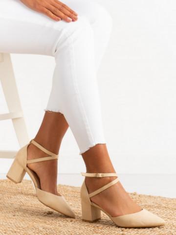 Sandale cu toc cod 6361 Beige