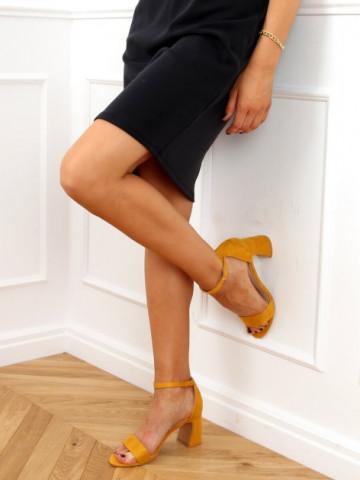 Sandale cu toc cod 8741 Yellow