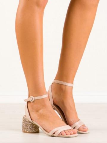 Sandale cu toc cod 9248-14 Beige