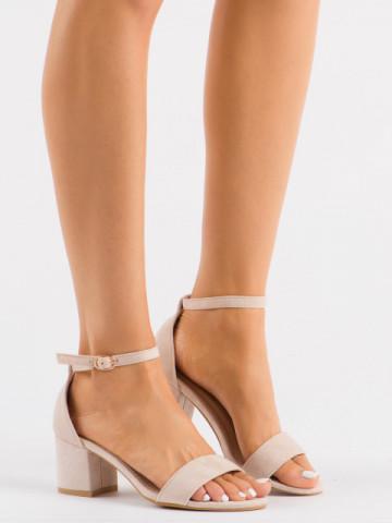 Sandale cu toc cod 99-36A Beige