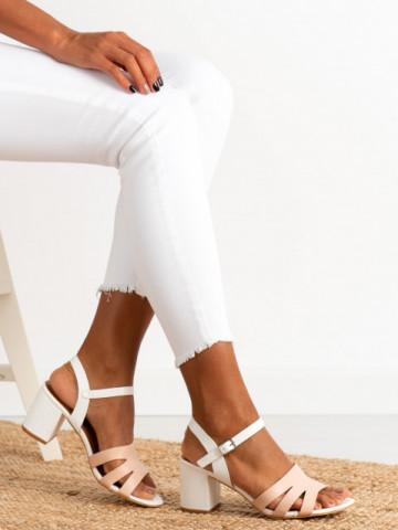 Sandale cu toc cod CS79 White