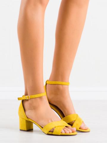 Sandale cu toc cod F189 Yellow