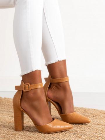 Sandale cu toc cod GG90 Camel