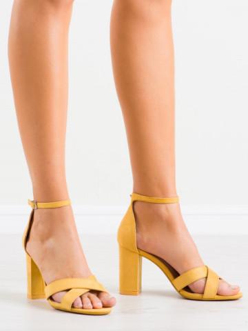 Sandale cu toc cod NF63 Yellow