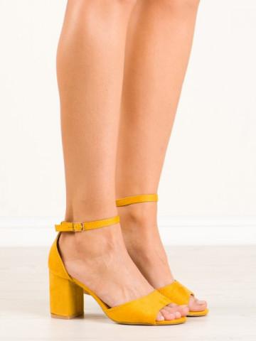 Sandale cu toc cod QL-85 Yellow