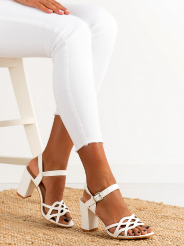 Sandale cu toc cod S863 White